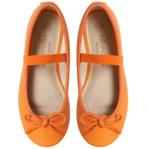 Orange Girls ballerina flats