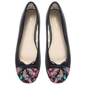 Black flower Women footwear Ballerina flats shoes