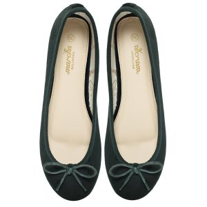 Women green velvet ballerina flats / pumps