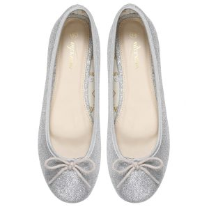 Women Silver Doll pumps shoes