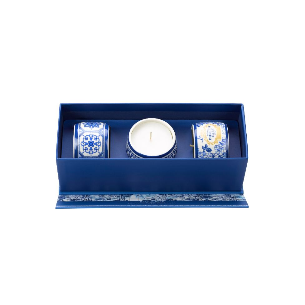 PC Gold&Blue 3 Candle Set