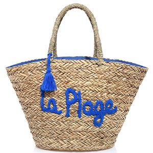 Embroidered blue Straw bag