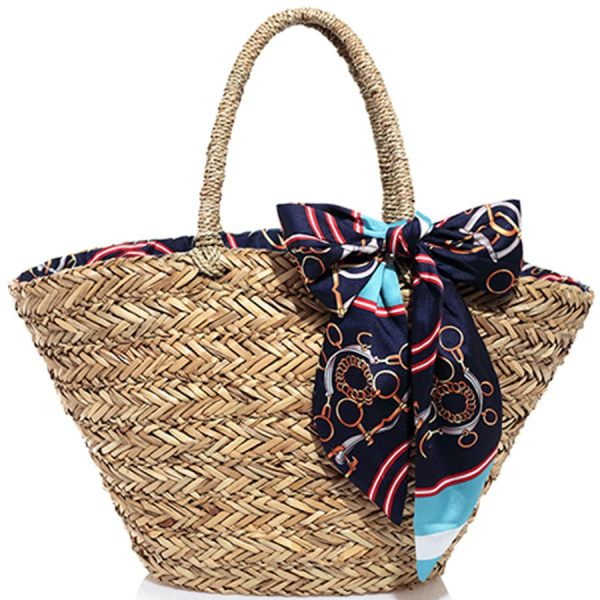 Embroidered Straw bag