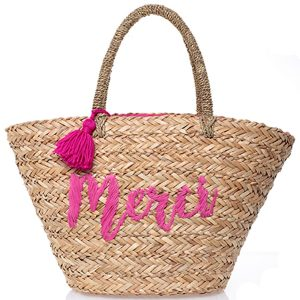 Embroidered pink Straw bag
