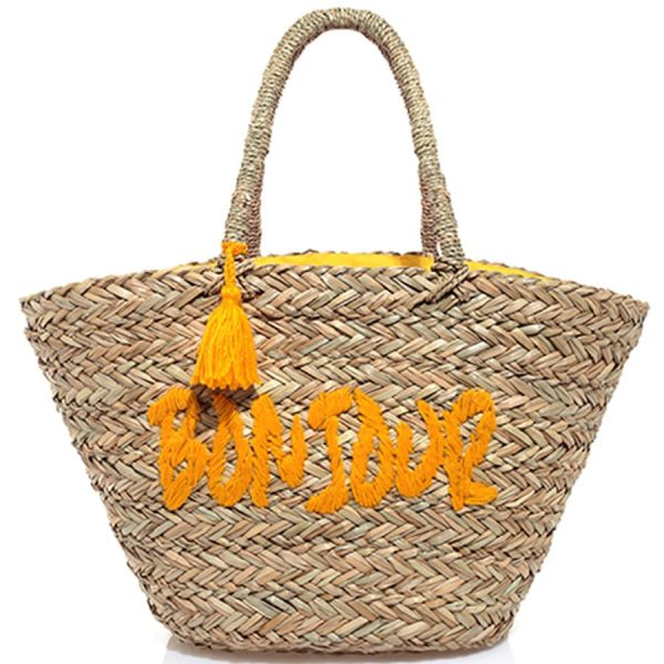 Embroidered yellow Straw bag