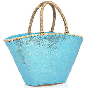 Embroidered blue glitter Straw bag