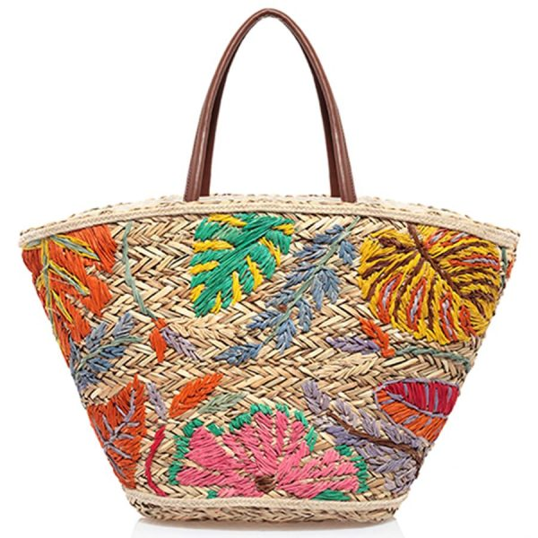 Embroidered colorful Straw bag