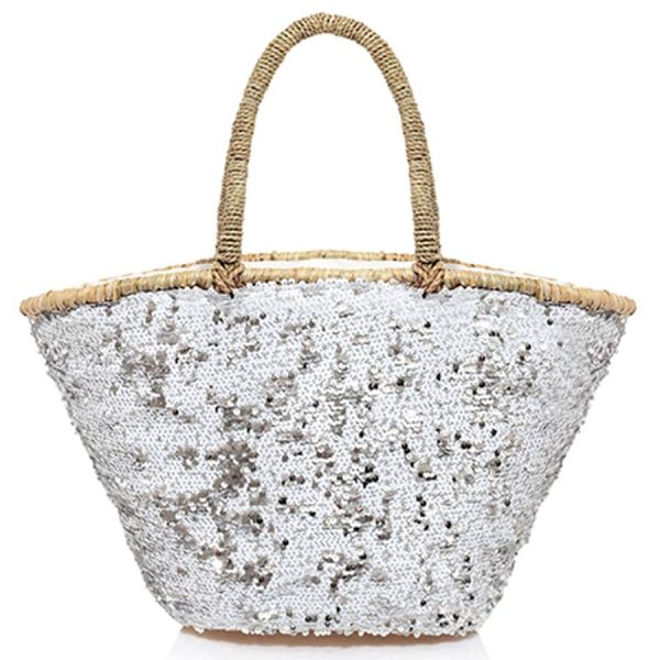 Embroidered white Straw bag