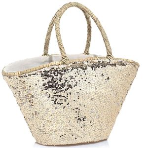 Embroidered gold Straw bag