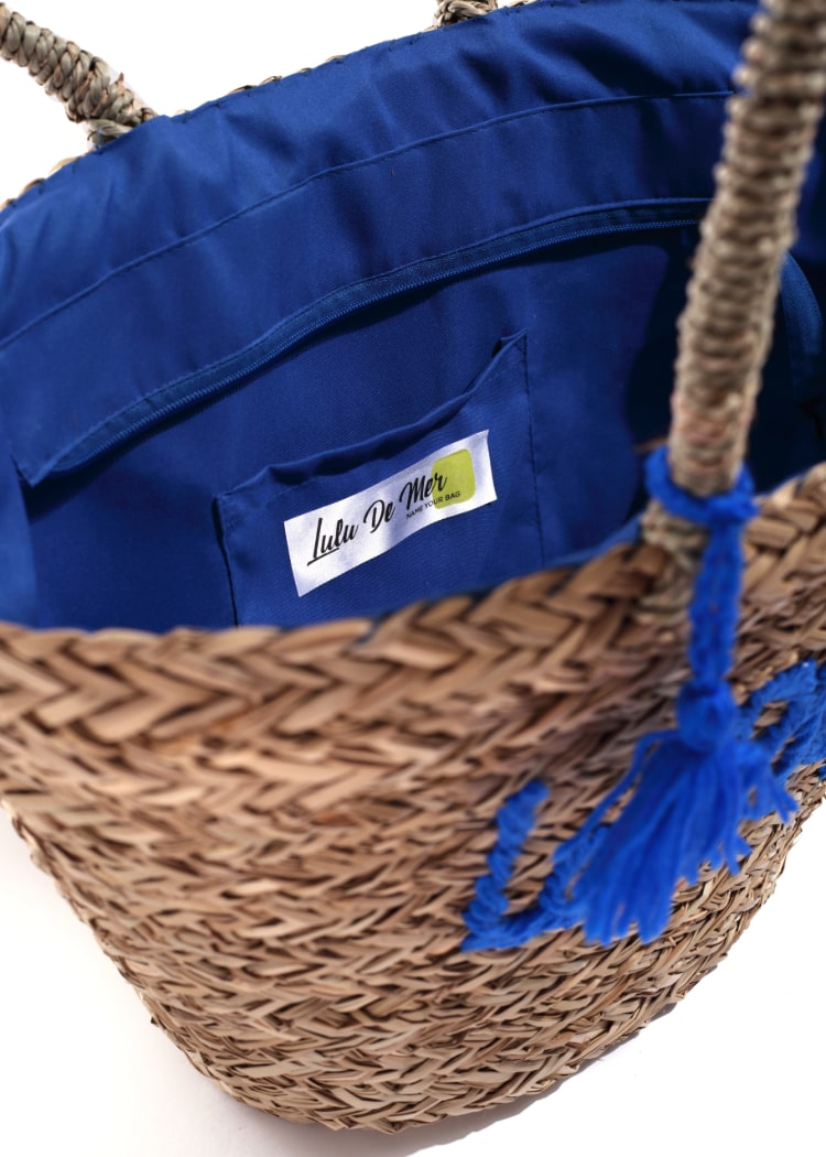 Women Blue Embroidered Straw Bag
