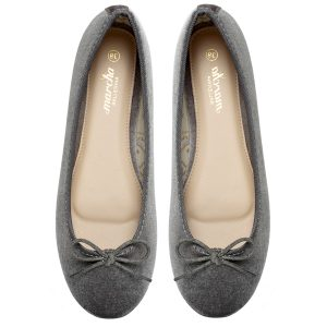 Dark Grey Olive ballerina shoes velvet