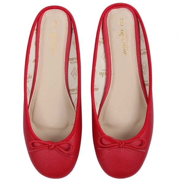Red open back ballerina flats
