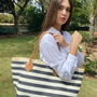 blue white Stripes Straw bag
